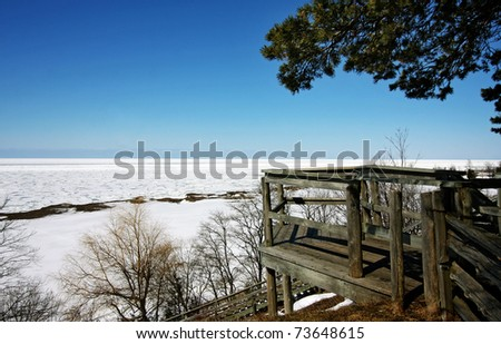 a view of Lake Huron from a lookout in Brucefield Ontario