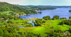 A view of Lake Windermere taken from above the village of Ambleside in the English Lake District..
