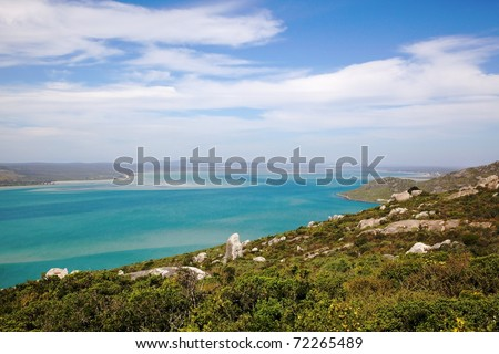 A view of Langebaan Lagoon from the West Coast National Park, Western Cape, South Africa.