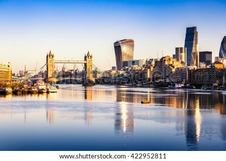A view of london Tower Bridge skyline at dawn.