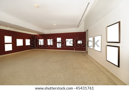 A view of modern art gallery space with blank canvas on red wall