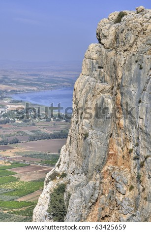 """a view of Mount Arbel and the Sea of Galilee a part of the """"Jesus Trail"""""""