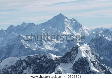 A view of Mt. Everest, 29,028 feet high, in the central Himalayan mountains in Nepal