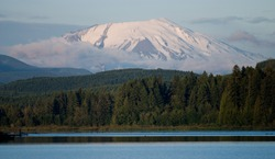 A view of Mt St Helens from Silver Lake campground, 50 miles away