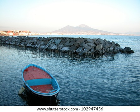 A view of Naples, Italy, with Vesuvius