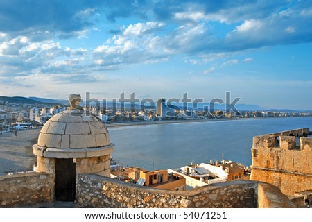 A view of North beach of Peniscola from Castle, Valencia, Spain