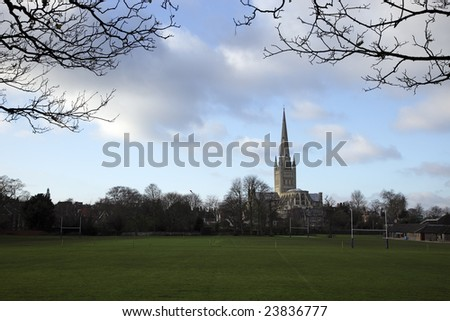 A View of Norwich Cathedral from across the playing fields