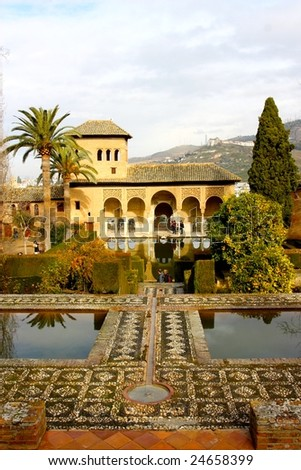 A view of one of the Moorish buildings at the Alhambra, Granada, Spain