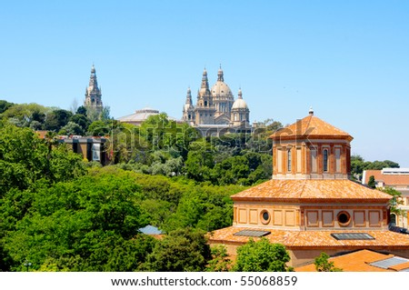 A view of Palau Nacional of Montjuich, in Barcelona, Spain - stock photo