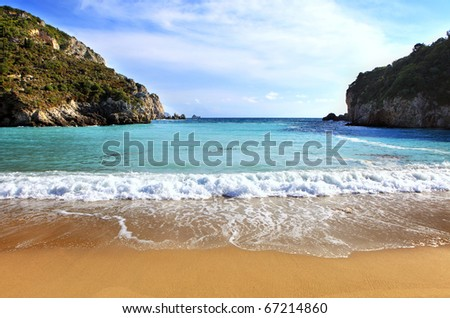A view of Paleokastritsa beach on Corfu, Greece, one of the Island's most popular resorts.