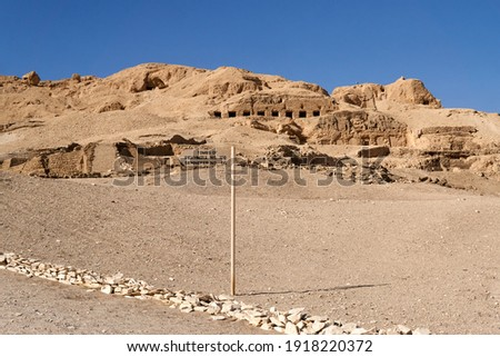A view of part of the Theban Necropolis with tombs of Ancients Egyptian nobles on the West bank of Nile in Luxor, Thebes Stock photo ©