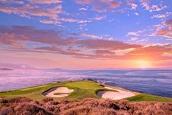 A view of Pebble Beach golf  course, Hole 7, Monterey, California, USA