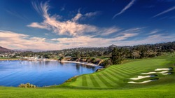 A view of Pebble Beach golf  course, Hole 6, Monterey, California, USA