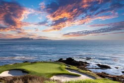 A view of Pebble Beach golf  course, hole 7, Monterey, California, USA
