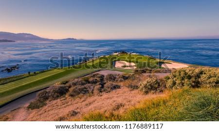 A view of Pebble Beach golf  course, Monterey, California, USA #1176889117