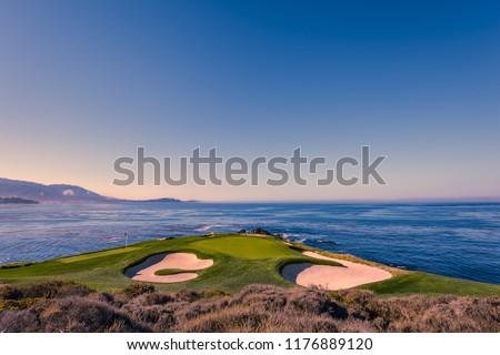 A view of Pebble Beach golf  course, Monterey, California, USA #1176889120