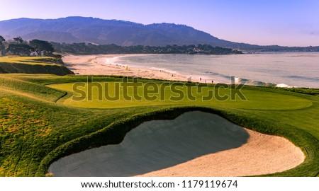 A view of Pebble Beach golf  course, Monterey, California, USA #1179119674
