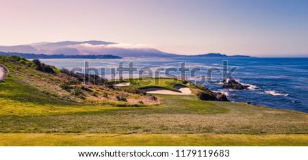 A view of Pebble Beach golf  course, Monterey, California, USA #1179119683