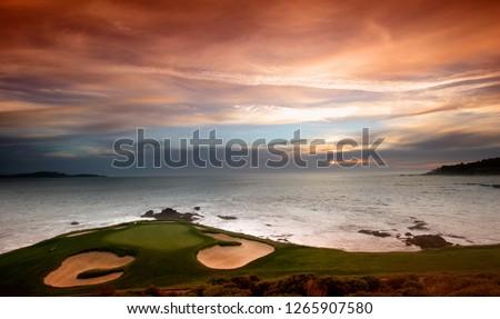 A view of Pebble Beach golf  course, Monterey, California, USA #1265907580