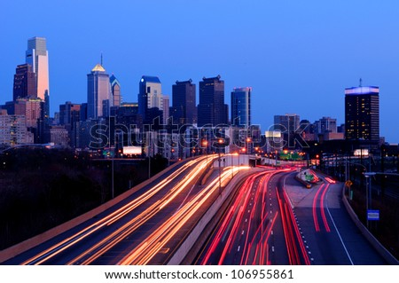 A view of Philadelphia; Pennsylvania�s cityscape overlooking the Schuylkill Expressway at night.  HDR from three exposures.