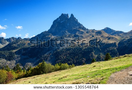 a view of Pic Du Midi Ossau, autumn  France, Pyrenees