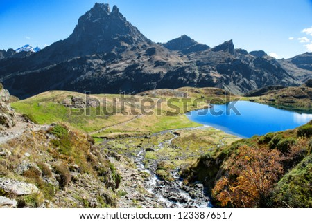 a view of Pic Du Midi Ossau in autumn, France, Pyrenees