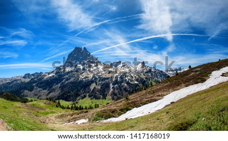 a view of Pic du Midi Ossau in springtime, french Pyrenees