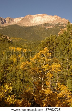 A view of Pikes Peak from the Barr Trail
