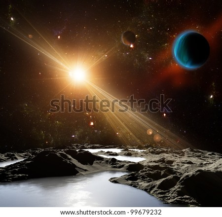 A view of planet and the universe from the moon's surface. Abstract illustration of distant regions.