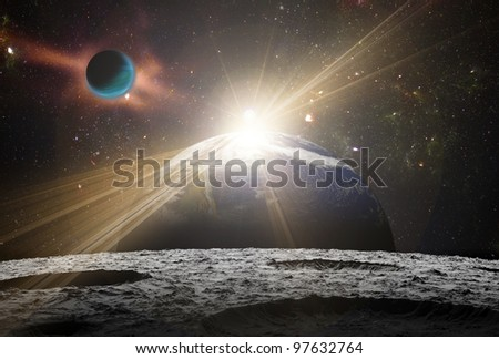 A view of planet earth and the universe from the moon's surface. Abstract illustration of distant regions.