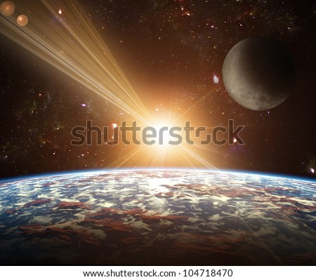 A view of planet earth, moon and sun. Abstract background of distant regions. New Age in the far travel and use of solar energy.