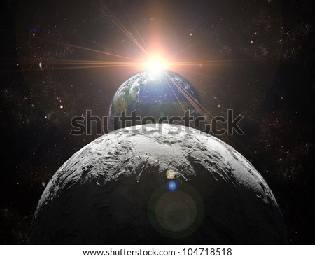 A view of planet earth, moon and sun. Abstract background of distant regions. New Age in the far travel and use of solar energy. Planet earth is a picture from NASA.