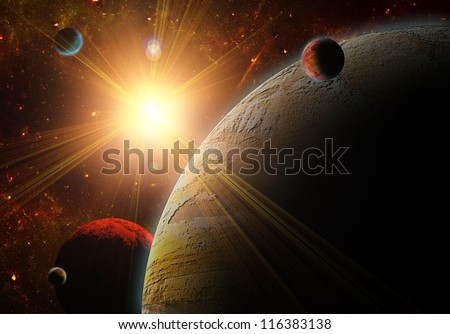 A view of planet, moons and the universe from the earth surface. Abstract illustration of distant regions. - stock photo