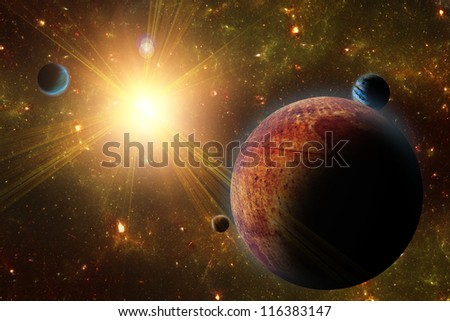 A view of planet, moons and the universe from the earth surface. Abstract illustration of distant regions.
