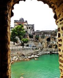 A view of pond  at Katas Raj Temple.