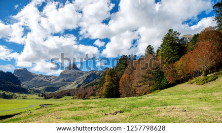 a view of Pyrenees mountains in autumn, near Pic Ossau