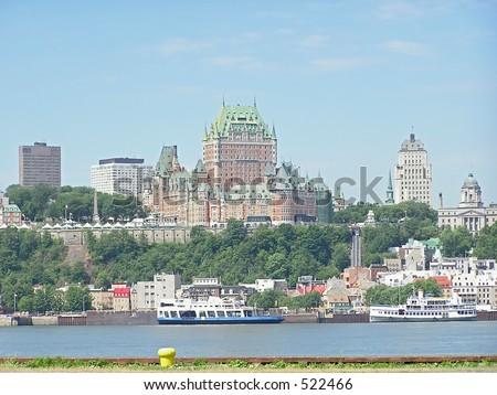 A view of Quebec City and the Chateau Frontenac from the other side of St Lawrence river - stock photo