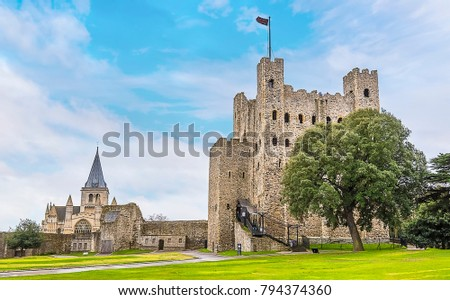 A view of Rochester castle and cathedral, UK from the castle grounds