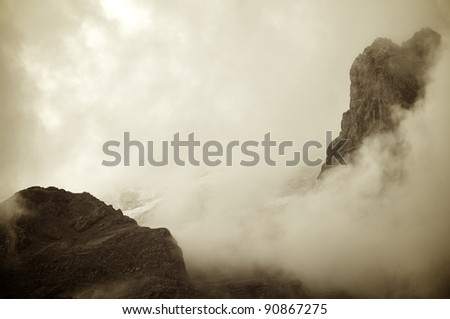 a  view of rocky pinnacles in the Pyrenees