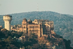 A view of ruins of Mubarak Mandi Palace from Bagh-e-Bahu in Jammu city of Union Territory of Jammu and Kashmir.