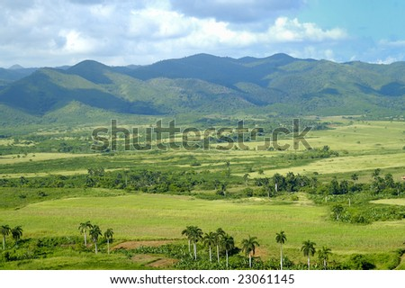 A view of rural tropical landscape with vegetation on cuban countryside - escambray