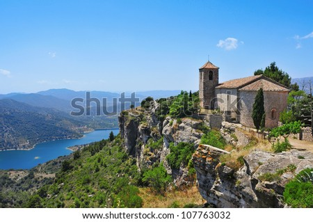 a view of Santa Maria de Siurana Church, on the top of a peak, in Siurana, Spain