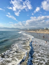 A view of Santa Monica State Beach taken from the Santa Monica Pier.
