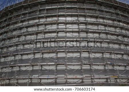 A View Of Scaffolding For The Storage Tank Oil Construction