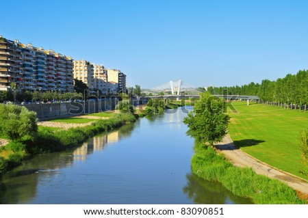 A view of Segre River passing through Lleida, in Spain
