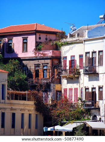 A view of some of the old style buildings in the greek town of Chania.