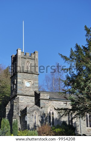 A view of St Mary's church near William Wordsworth's former home at Rydal in the English lake District