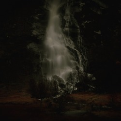 A view of Steal falls surrounded by darkness, located in glen Nevis, highlands, Scotland.