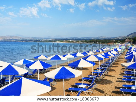 A view of sunbeds awaiting tourists at the Greek island resort of Georgioupolis on Crete's north coast.