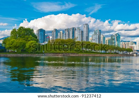 A view of sunny Yaletown from False Creek Sea walk. Downtown of Vancouver. Canada.
